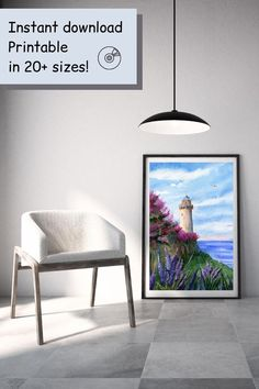 Beautiful lighthouse in Tuscany, seascape and lavender digital art print.  YOU WILL RECEIVE 300dpi RESOLUTION 5 FILES: 01 - 4:5 ratio to print: 4x5 in / 8x10 in / 16x20 in 💿 20x25 / 40x50 cm 02 - 3:4 ratio to print: 6x8 in / 9x12 in / 12x16 in / 18x24 in 📀 15x20 cm / 30x40 cm / 45x60 cm 03 - 2:3 ratio to print: 4x6 in / 6x9 in / 8x12 in / 10x15 in / 12x18 in/ 16x24 in 💿 10x15 cm / 20x30 cm/ 30x45 cm / 40x60 cm 04 - ISO sizes: A5 / A4 / A3 / A2  05 - ZIP file with instructions   5x7 in