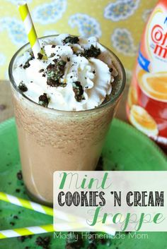 A chilled coffee smoothie with extra sweet creamer, mint Oreos, and chocolate syrup - skip the drive thru!