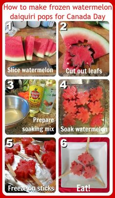 How to make frozen watermelon daiquiri pops for Canada Day - Oh those Crafty Canadian! I bet Stars would work for the just as well! Canada Day 150, Happy Canada Day, Canada Eh, Fete Vincent, Frozen Watermelon, Watermelon Popsicles, Alcoholic Popsicles, Alcoholic Drinks, Fruit