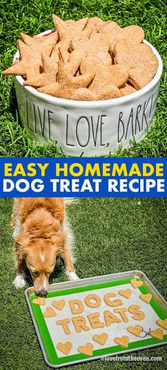 Easy Peanut Butter Dog Treats. These only take four ingredients and you can make them in like 30 minutes. My pups LOVED these! #dogs #pets #puppy #dogtreats #dogbones #dogrecipes #dogfood #lftorecipes