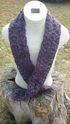 Varigated Purple Crocheted Scarf by PrairiePurl on Etsy