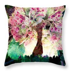 Hydrangea tree throw pillow by Shauna De Bella