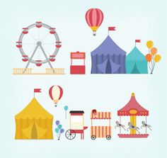 10 Fresh Amusement Park Element Vector Material