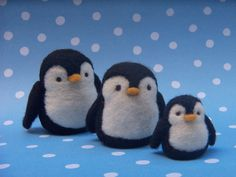 needle-felted penguins