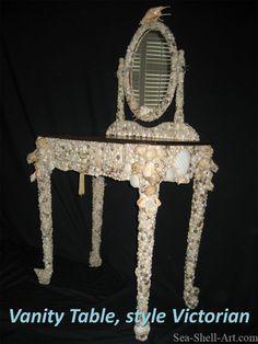 Vanity table. http://destinationdesignmontreal.com/wp-content/uploads/2012/07/Sea-Shell-Art-27.jpg