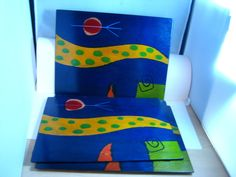 Artist Signed Placemats... These are real - true works of art - Signed by artist Reut Shahar Set of Five Matching Kakadu Hand Painted Wood Place Mats Made in Israel #Kakadu #art #israel #reutshahar #shahar