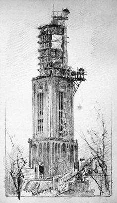 De Domtoren in 1905 Dat de toren uit 1382 er nog steeds staat is niet zo vanzelfsprekend. Gedurende de vorige eeuw zijn er veel herstelwerkzaamheden verricht nadat het monument in de 19e eeuw ernstig in verval was geraakt. In 1894 stelde de gezaghebbende stadsarchivaris S. Muller het gemeentebestuur zelfs de vraag of de toekomst van de toren wel gewaarborgd was. 'De Domtoren is eene eeuw lang niet eene versiering, waartoe zijne bouwheeren hem bestemden, maar eene schande voor de stad…