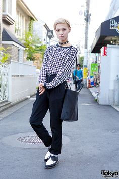 Devil in Harajuku w/ Black & White Houndstooth, Brogues & Cross Choker Devil/Usuke in Harajuku – Tokyo Fashion News