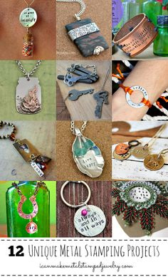 12 Unique Metal Stamping Projects #DIYJewelry #MetalStampedJewelry