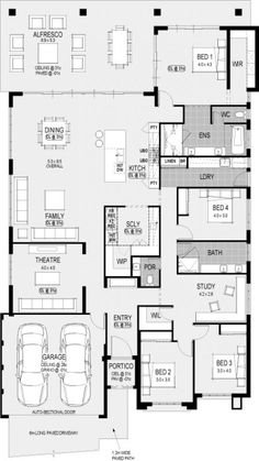 """Southport Platinum floorplan I would switch the powder room around to allow for the 3 bedrooms and the """"study"""" to have pocket doors to.make that whole section private for the kids. The study would be their play/tv area Best House Plans, Dream House Plans, House Floor Plans, Home Design Floor Plans, Plan Design, Basement Layout, House Blueprints, Display Homes, Bedroom House Plans"""