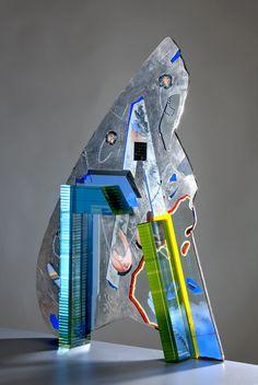 Bohumil Eliáš sen. - Object: Blue necklet - Slumped and painted glass /// Czech Glass Art /// czech-glassart.com