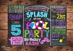Pool Party Birthday Bash Invitation for Girls - Splish Splash Birthday Bash - Digital File Pool Party Birthday Bash Invitation for Girls - Splish Splash Birthday Bash - Digital File Pool Party Invitations, Digital Invitations, Birthday Invitations, Pool Party Kids, Beach Party, 6th Birthday Parties, Birthday Bash, Birthday Ideas, Pool Party Decorations