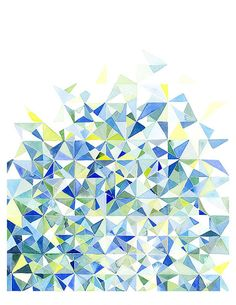 Handmade Watercolor Abstract Triangles in Blue and Green- 8x10 Wall Art Watercolor Print
