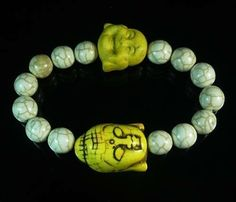 Lovely Howlite Turquoise Yellow Buddha Head White Ball Beads Stretch Bracelet A