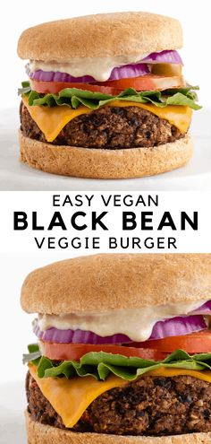 """The best vegan black bean burgers are easy, healthy, gluten-free, and flavorful! The """"meaty"""" patties are made with simple ingredients like beans, oats, walnuts, corn, and peppers. No breadcrumbs, no flour, and no eggs! #vegan #blackbeanburger #veganburger #veggieburger #glutenfree Vegan Dinner Recipes, Whole Food Recipes, Vegetarian Recipes, Healthy Recipes, Vegan Meals, Vegan Black Bean Recipes, Sandwich Recipes, Healthy Eats, Vegan Bean Burger"""