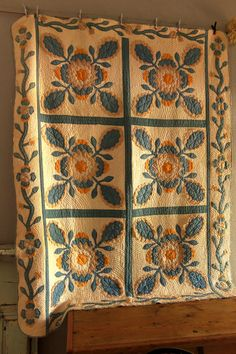 Antique Handmade SQUASH BLOSSOM Applique Quilt Blue Cheddar Border Feedsack | eBay
