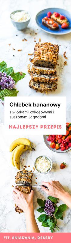 Chlebek bananowo kokosowy z jagodami - Przepisy Miss Berry Healthy Recipes, Healthy Food, Recipies, Food And Drink, Bread, Breakfast, Fitness, Projects, Essen
