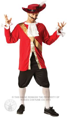 A commercial costume, but it looks like a long sleeved red shirt with lace cuffs, lace embellished collar, and gold down the front/gold sash that could be a one piece captain shirt