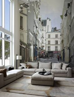 Street wall mural in lounge room really does extend the space in the room