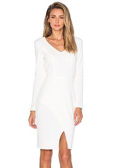Bobi BLACK Knit Boucle V-Neck Long Sleeve Midi Dress in White | REVOLVE