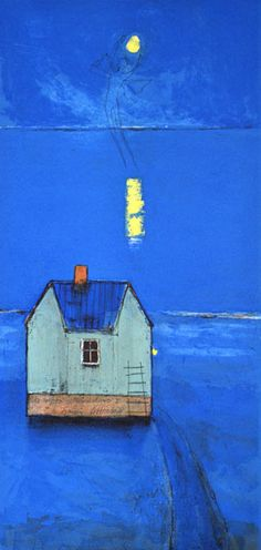 Moondance II by Gunn Vottestad Colorful Paintings, Paintings I Love, Abstract Paintings, Scandinavian Quilts, Blue Shades Colors, Barn Art, Impressionism Art, Minimalist Art, House Painting