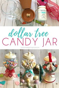 Looking for a great Dollar Tree DIY? Look no further than this great candy jar! You can even change it out to match the holiday! Perfect for Valentine's Day, Easter and Christmas! valentines day crafts to sell DIY Dollar Tree Candy Jar Pot Mason Diy, Mason Jar Crafts, Crafts With Jars, Dollar Tree Decor, Dollar Tree Crafts, Dollar Tree Gift Bags, Clay Pot Crafts, Diy And Crafts, Diy Crafts You Can Sell