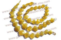 Yellow Chalcedony Faceted Flower (Quality B) ( 1 STRANDS) / 10.5 to 14.5 mm / 13 to 15 Grms / 18 cm / CHALCEDON-029 by GemstoneWholesaler on Etsy