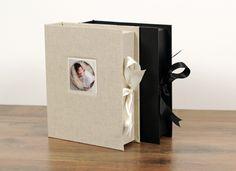 New Natural Blend Linen cover for Seldex Portfolio Box. Pictured with Black Buckram box.