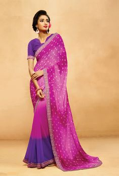 Pink,#Purple #Chiffon,#Silk #Designer #Saree #nikvik  #usa #designer #australia #canada #freeshipping #saris