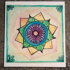 Hand painted mandala greeting card by PrimalPulseDesigns on Etsy Watercolor Pencils, Watercolor Paper, Card Stock, Mandala, My Etsy Shop, Greeting Cards, Hand Painted, Painting, Carton Box