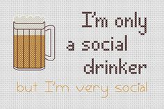Funny Cross Stitch Sampler PDF Pattern Drinking Beer