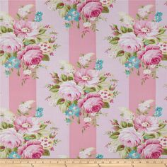 Tanya Whelan Sunshine Roses Picnic Bouquet Pink from @fabricdotcom  Designed by Tanya Whelan for Free Spirit, this cotton fabric is perfect for quilting, apparel and home decor accents. Colors include blue, green, pink and white.