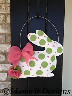 Bunny Burlap Door Hanger. $28.00, via Etsy.