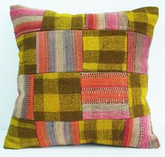 Sukan / Hand Woven - Turkish Patchwork Kilim Pillow Cover - 18x18