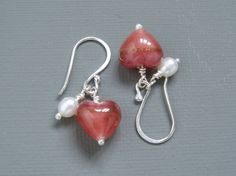 Rose Pink and Gold Genuine Venetian Murano Heart and Pearl Sterling Silver Earrings by MermaidsPurseJewels on Etsy