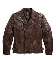 Lambskin Leather Biker Jacket - MotorClothes Harley-Davidson Fall 2015 - 00 % cuir d'agneau, délavé pour une texture douce. Le traitement appliqué à la main donne un effet usé et marbré. Doublure en sergé de polyester. Épaules et manches matelassées. Col officier à bouton-pression. Avant zippé asymétrique et poignets zippés. Élasticité au dos et boucles réglables à la taille. #harleydavidson #motorclothes #fall2015