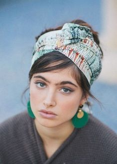 "Delicately Striped ""Shell"" Turban Half Head Covering - Headcoverings, head scarf and statement fringe green earrings, Hair Scarf Styles, Short Hair Styles, Turbans, Headscarves, Turban Style, Bandana Hairstyles, Different Hairstyles, Bad Hair Day, Mode Inspiration"