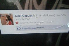 Juliet Capulet FB relationship status is complicated. Clever Facebook Status, Fb Status, Facebook Style, Shakespeare Funny, Juliet Capulet, Romeo Und Julia, Library Humor, Bon Courage, Romeo Y Julieta