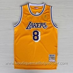 abdf3f37464 maillot nba pas cher Los Angeles Lakers Bryant #8 Jaune mesh tissu 22,99
