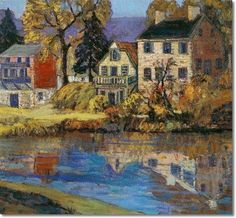 Fern Isabel Coppedge - Delaware River Canal Reflections 18x20 1930 Painting