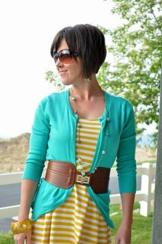 Yellow stripes + turquoise. Cute!!