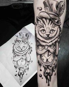 arm tattoo cheshire cat Grey Cheshire Cat Tattoo by Tattoo Mauritz Wolf Tattoos, Arm Tattoos, Animal Tattoos, Body Art Tattoos, Sleeve Tattoos, Tattoo Arm, Tatoos, Arm Tattoo Ideas, Medusa Tattoo