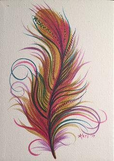Feather painting. Small, pink & gold feather. Acrylic on canvas.