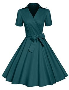 ACEVOG Women's Half Sleeves Bow Belt Vintage Retro Swing Cocktail Evening Party Dress