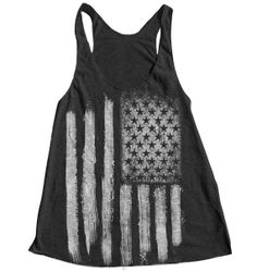 AMERICAN FLAG Women Tank Top American Apparel Triblend Racerback Tank Top Hand Screen Printed on Etsy, $18.00