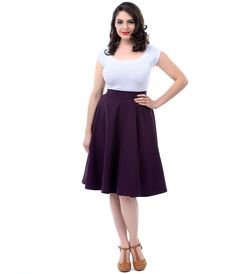 Purple High Waist Thrills Swing Skirt #uniquevintage