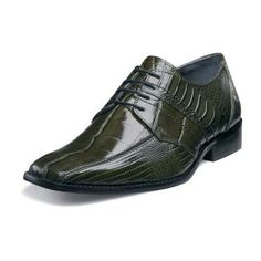 Stacy Adams Pietro Mens Olive Crocodile Print Leather Shoes 24675-303