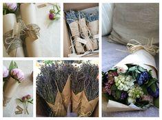 Bouquets in kraft paper