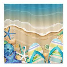CafePress Beach Flip Flop Shower Curtain - Standard