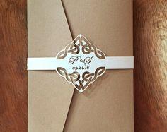 Invitación de boda de nudo céltico banda vientre juego de 10